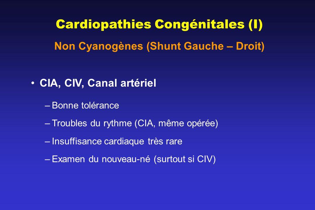 Non Cyanogènes (Shunt Gauche – Droit)