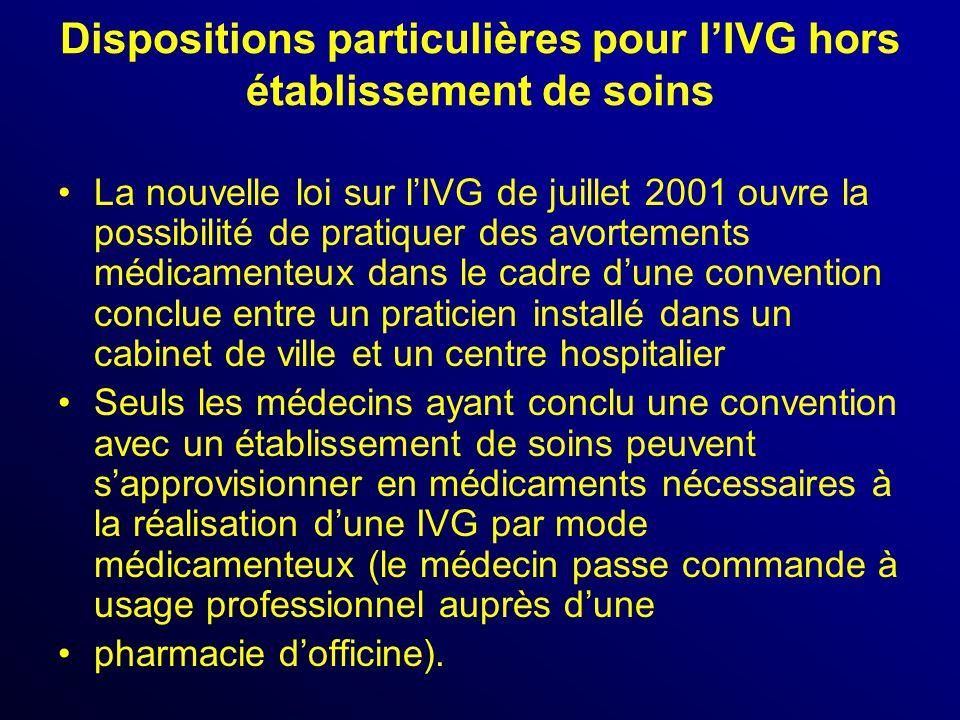 Dispositions particulières pour l'IVG hors établissement de soins