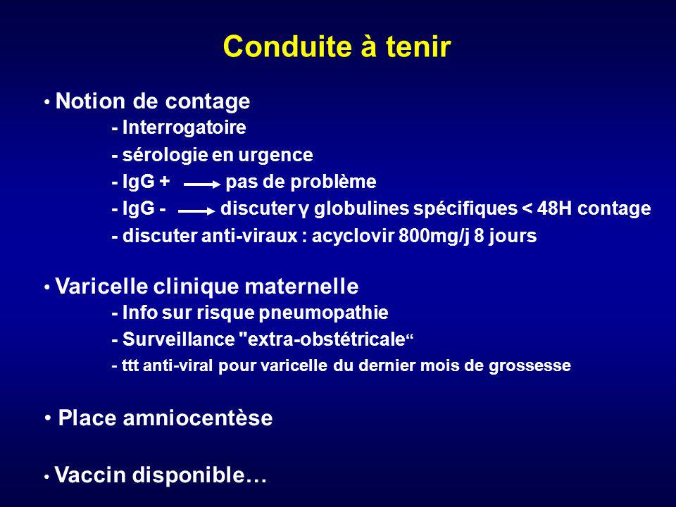 Conduite à tenir Place amniocentèse Notion de contage - Interrogatoire