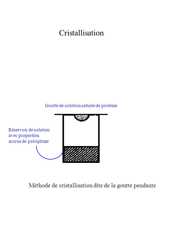 Cristallisation Méthode de cristallisation dite de la goutte pendante