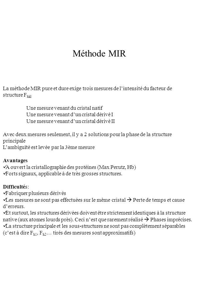 Méthode MIR La méthode MIR pure et dure exige trois mesures de l'intensité du facteur de structure Fhkl.