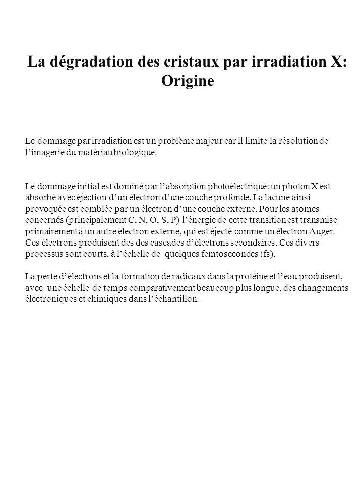 La dégradation des cristaux par irradiation X: Origine