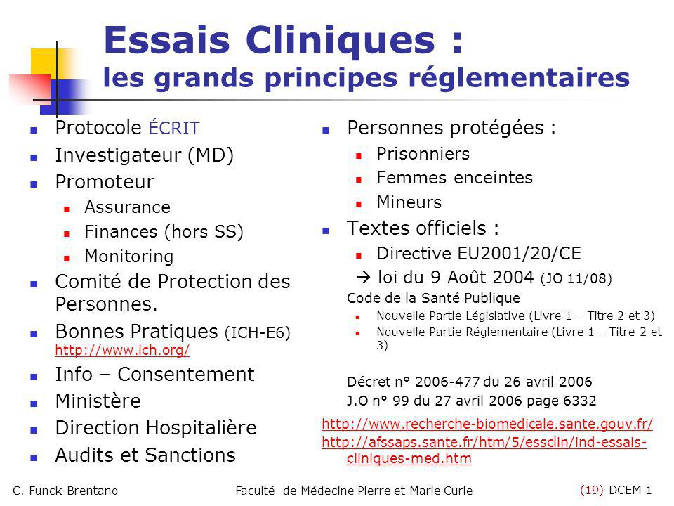 Essais Cliniques : les grands principes réglementaires