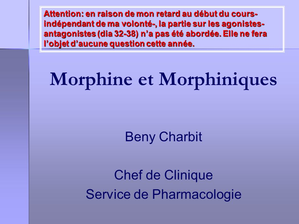 Morphine et Morphiniques