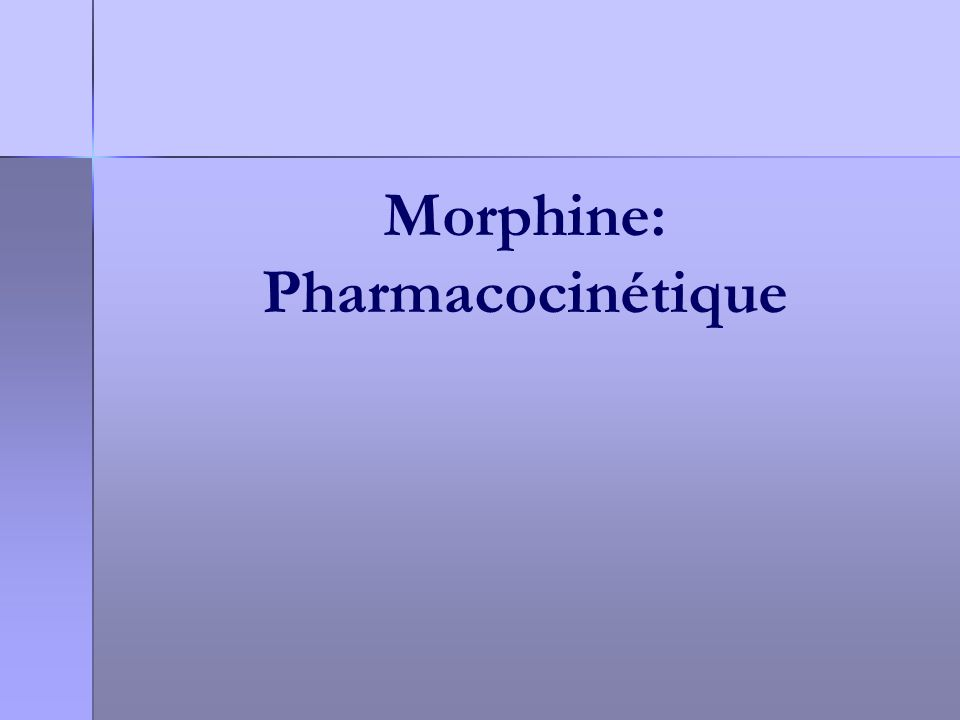 Morphine: Pharmacocinétique