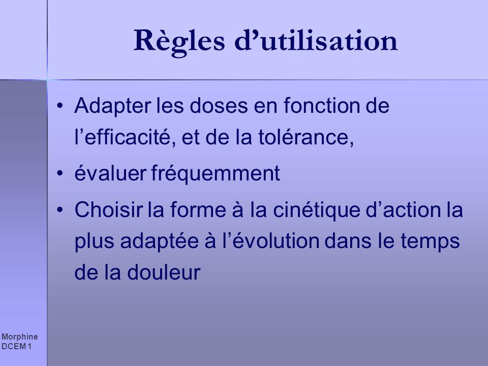 Règles d'utilisation Adapter les doses en fonction de l'efficacité, et de la tolérance, évaluer fréquemment.