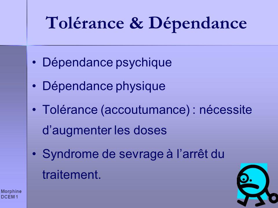 Tolérance & Dépendance