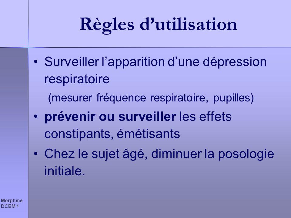 Règles d'utilisation Surveiller l'apparition d'une dépression respiratoire. (mesurer fréquence respiratoire, pupilles)