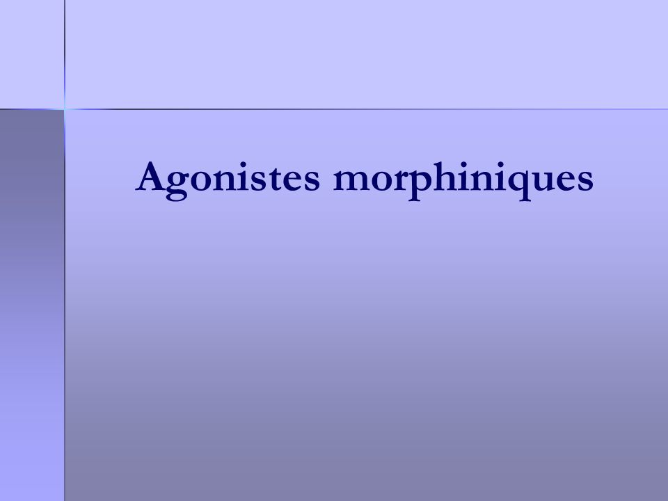 Agonistes morphiniques