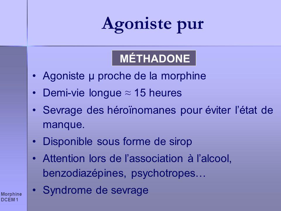 Agoniste pur MÉTHADONE Agoniste µ proche de la morphine