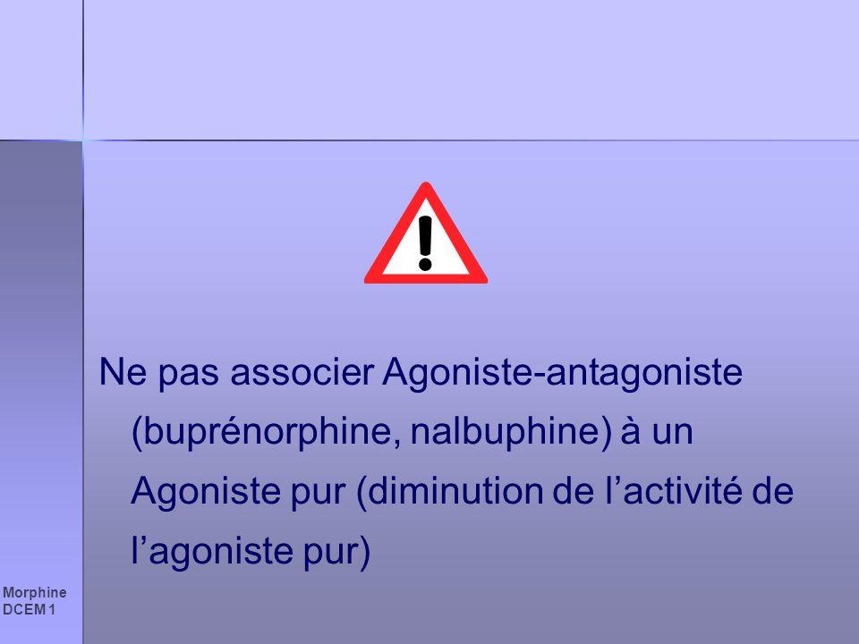 Ne pas associer Agoniste-antagoniste (buprénorphine, nalbuphine) à un Agoniste pur (diminution de l'activité de l'agoniste pur)