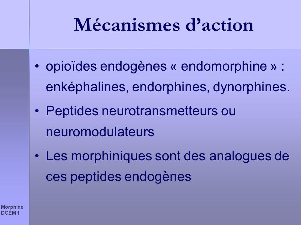 Mécanismes d'action opioïdes endogènes « endomorphine » : enképhalines, endorphines, dynorphines. Peptides neurotransmetteurs ou neuromodulateurs.