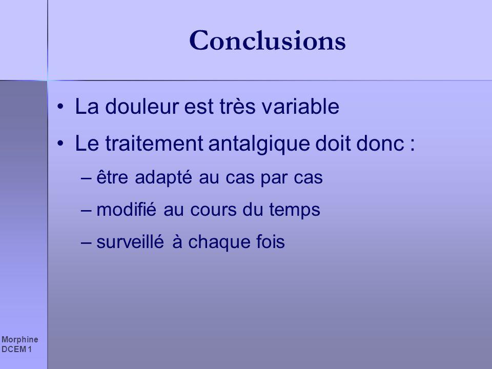Conclusions La douleur est très variable