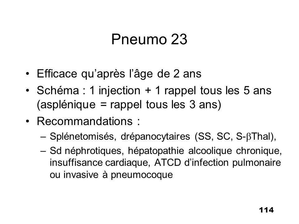 Pneumo 23 Efficace qu'après l'âge de 2 ans