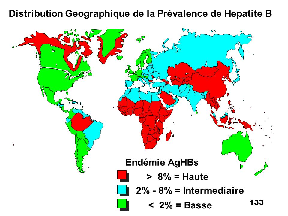 Distribution Geographique de la Prévalence de Hepatite B