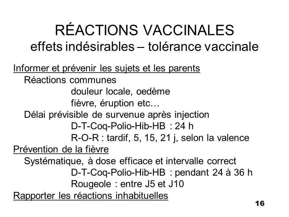 RÉACTIONS VACCINALES effets indésirables – tolérance vaccinale