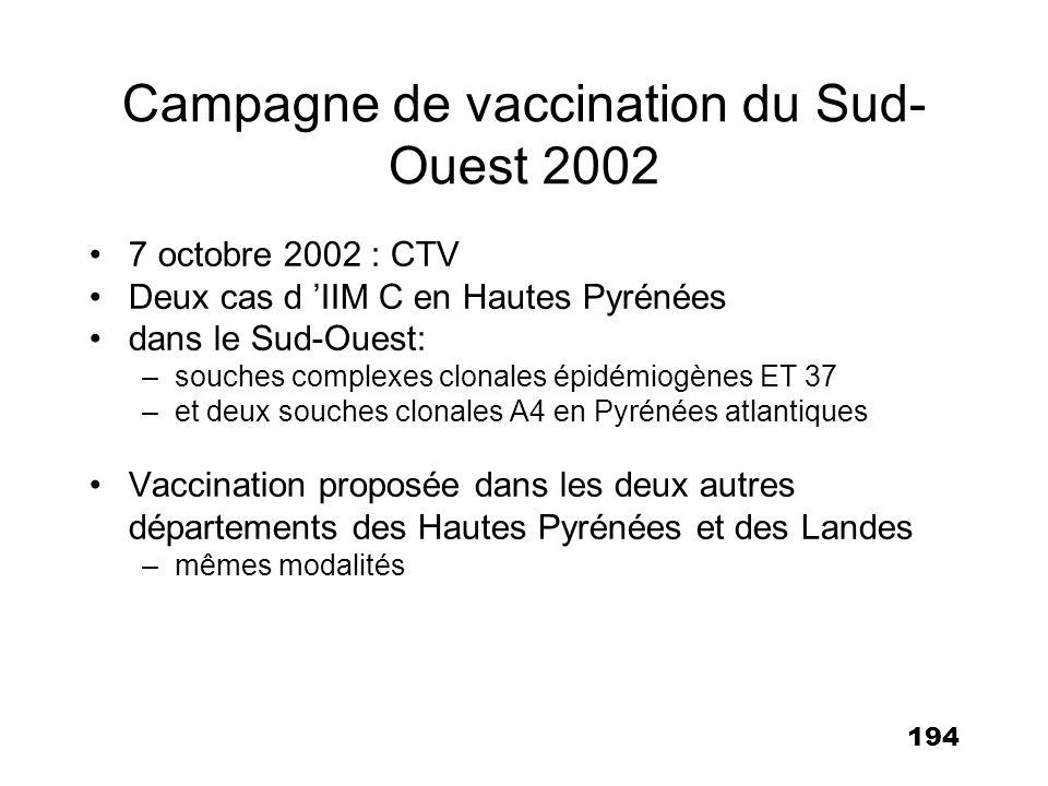 Campagne de vaccination du Sud-Ouest 2002
