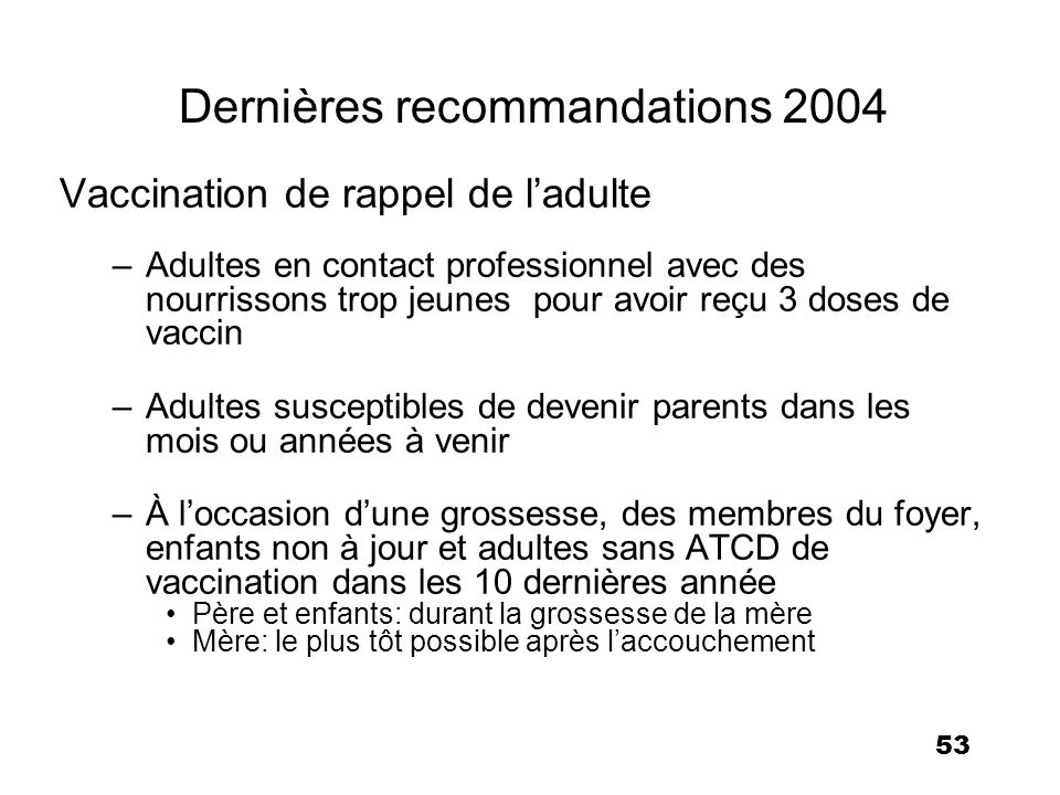 Dernières recommandations 2004