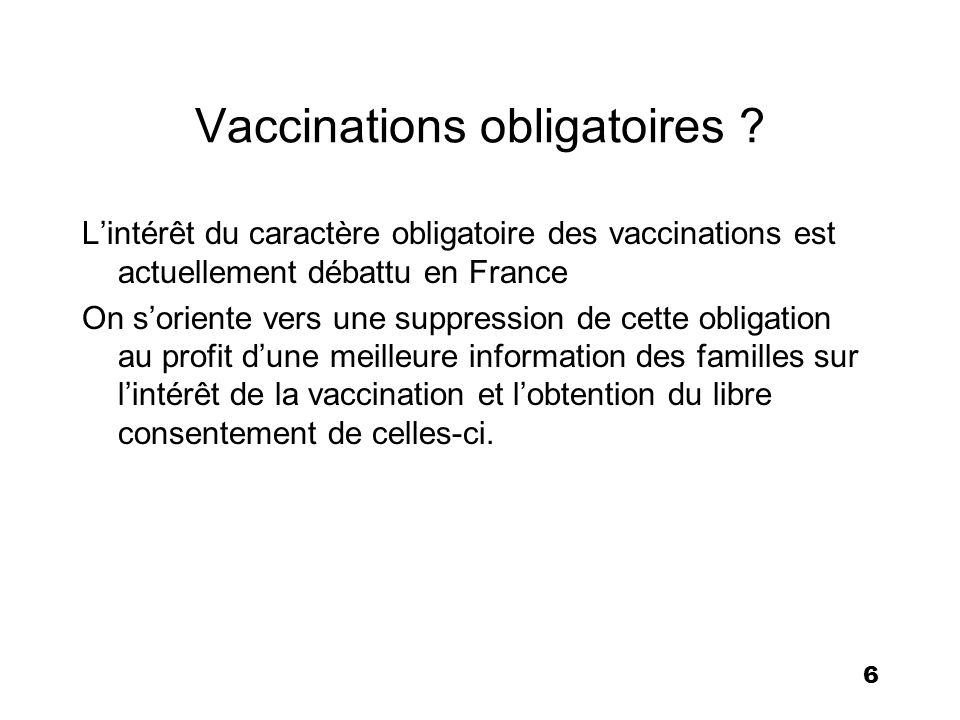 Vaccinations obligatoires