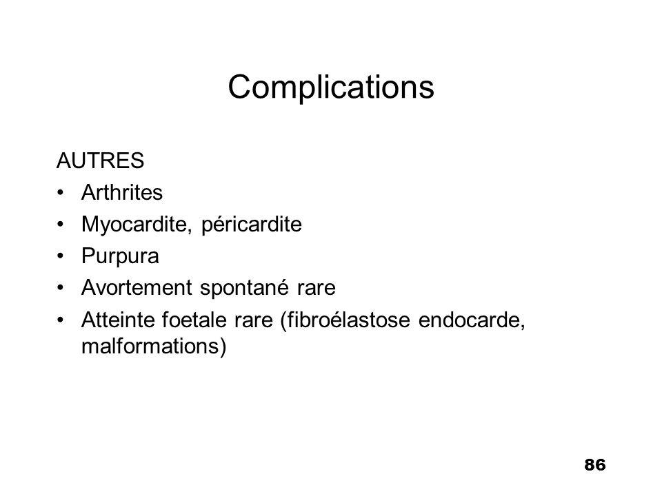Complications AUTRES Arthrites Myocardite, péricardite Purpura