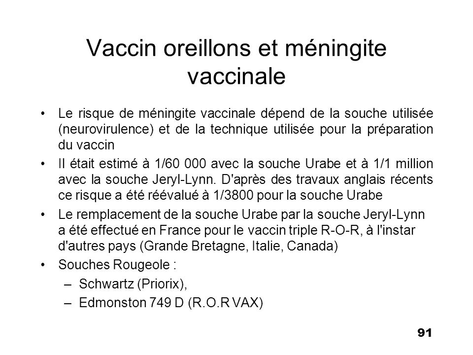 Vaccin oreillons et méningite vaccinale