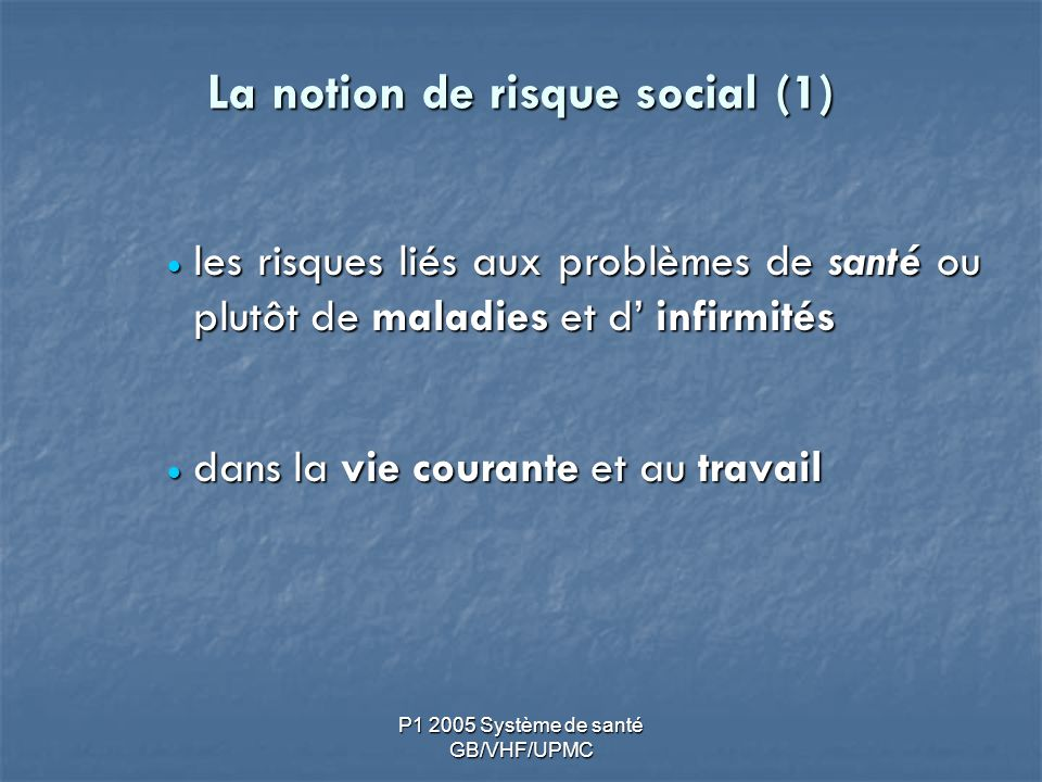 La notion de risque social (1)
