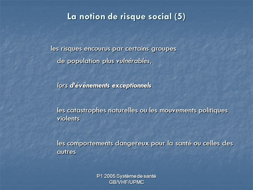 La notion de risque social (5)