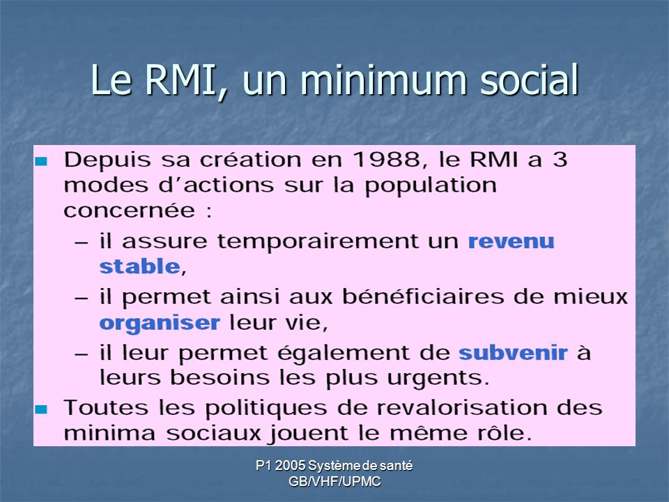Le RMI, un minimum social