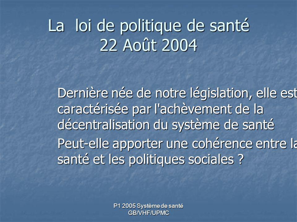 La loi de politique de santé 22 Août 2004