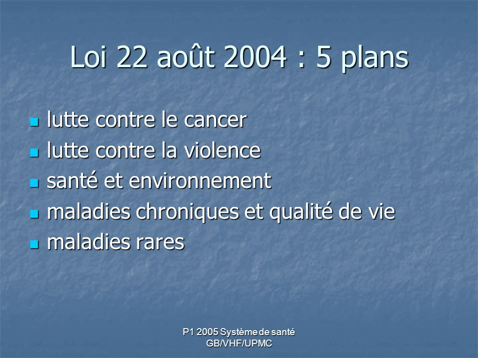 P1 2005 Système de santé GB/VHF/UPMC