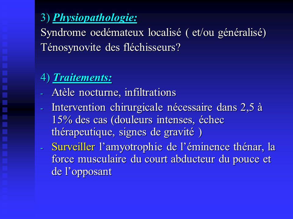 3) Physiopathologie: Syndrome oedémateux localisé ( et/ou généralisé) Ténosynovite des fléchisseurs