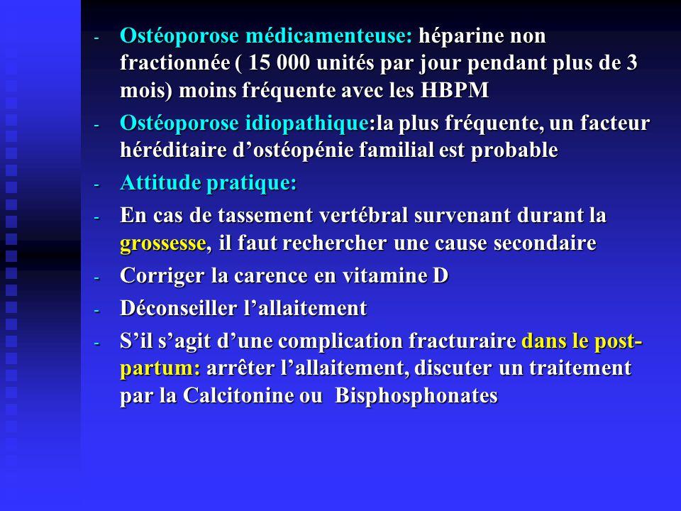 Ostéoporose médicamenteuse: héparine non fractionnée ( 15 000 unités par jour pendant plus de 3 mois) moins fréquente avec les HBPM
