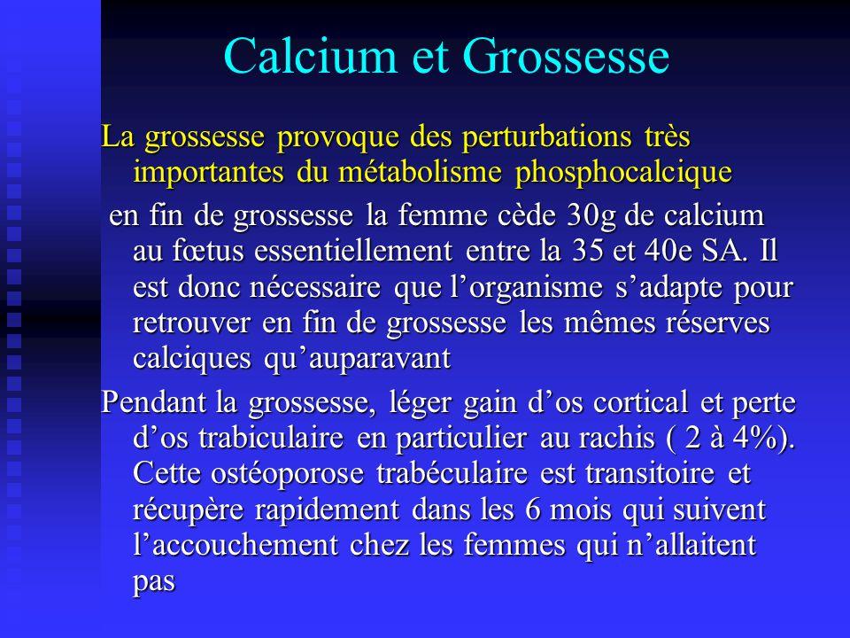Calcium et Grossesse La grossesse provoque des perturbations très importantes du métabolisme phosphocalcique.
