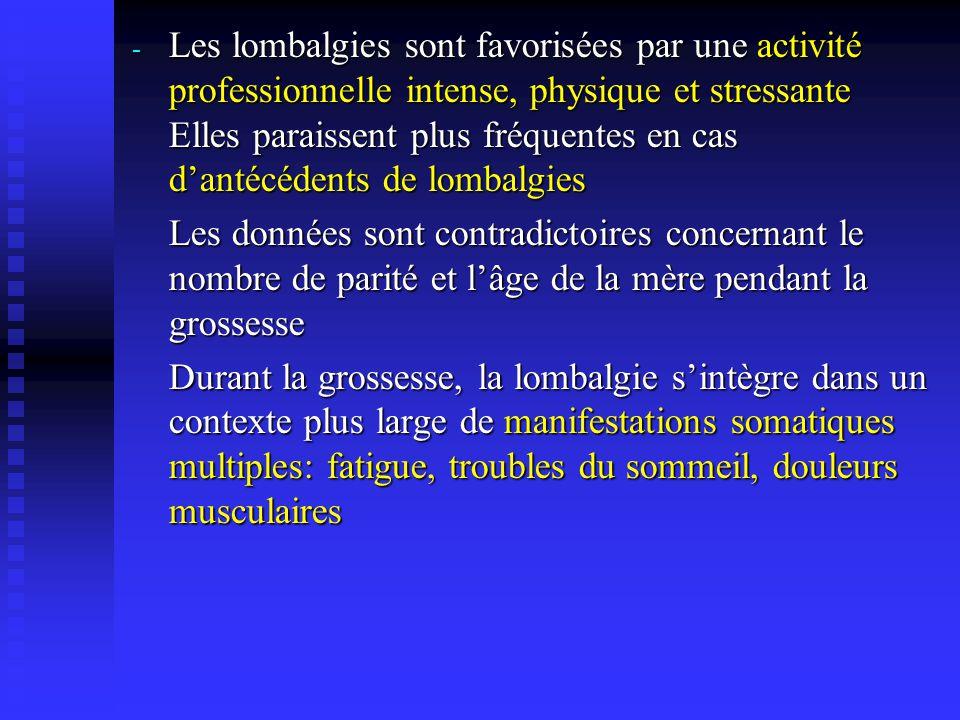 Les lombalgies sont favorisées par une activité professionnelle intense, physique et stressante Elles paraissent plus fréquentes en cas d'antécédents de lombalgies