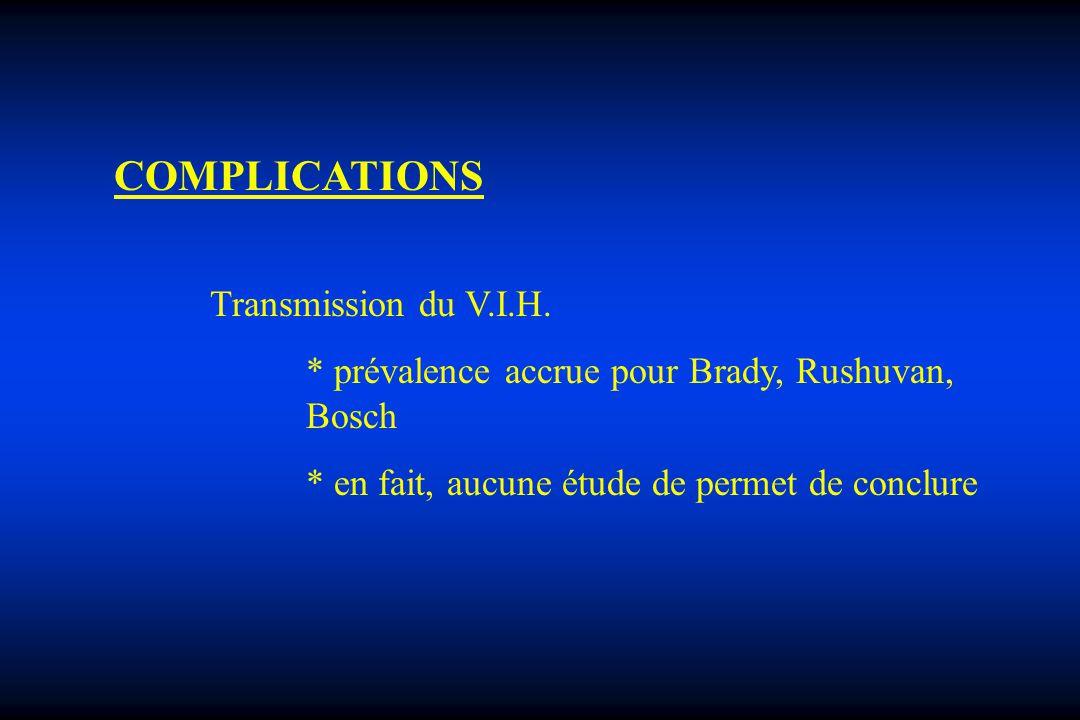COMPLICATIONS * prévalence accrue pour Brady, Rushuvan, Bosch