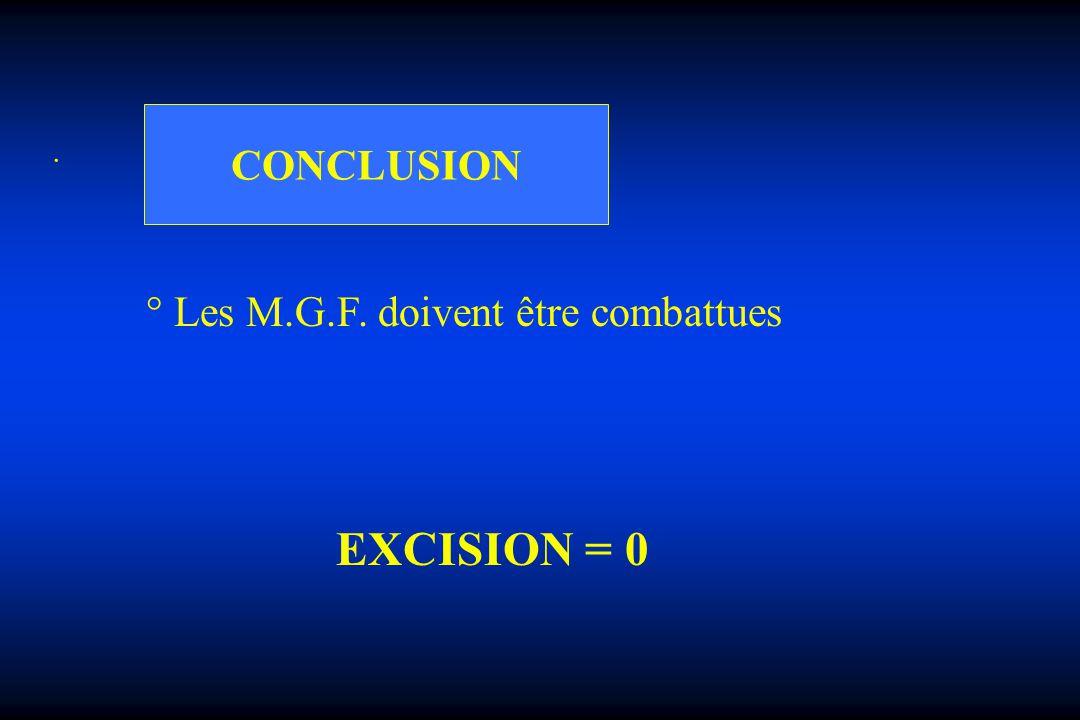 CONCLUSION . ° Les M.G.F. doivent être combattues EXCISION = 0