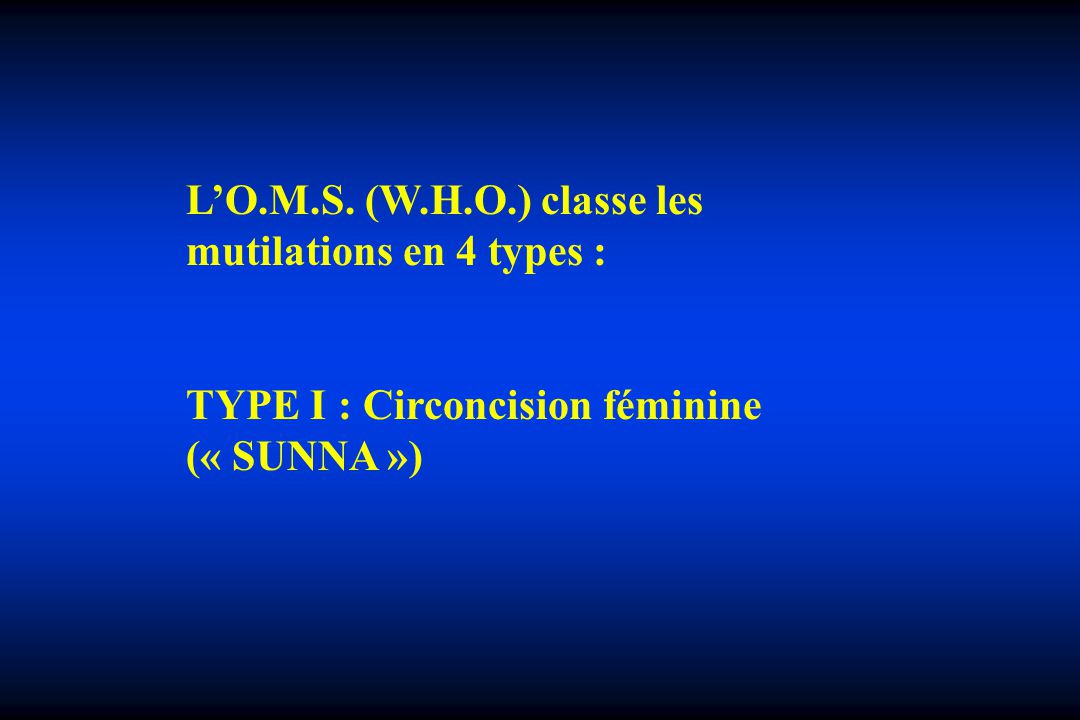 L'O.M.S. (W.H.O.) classe les mutilations en 4 types :