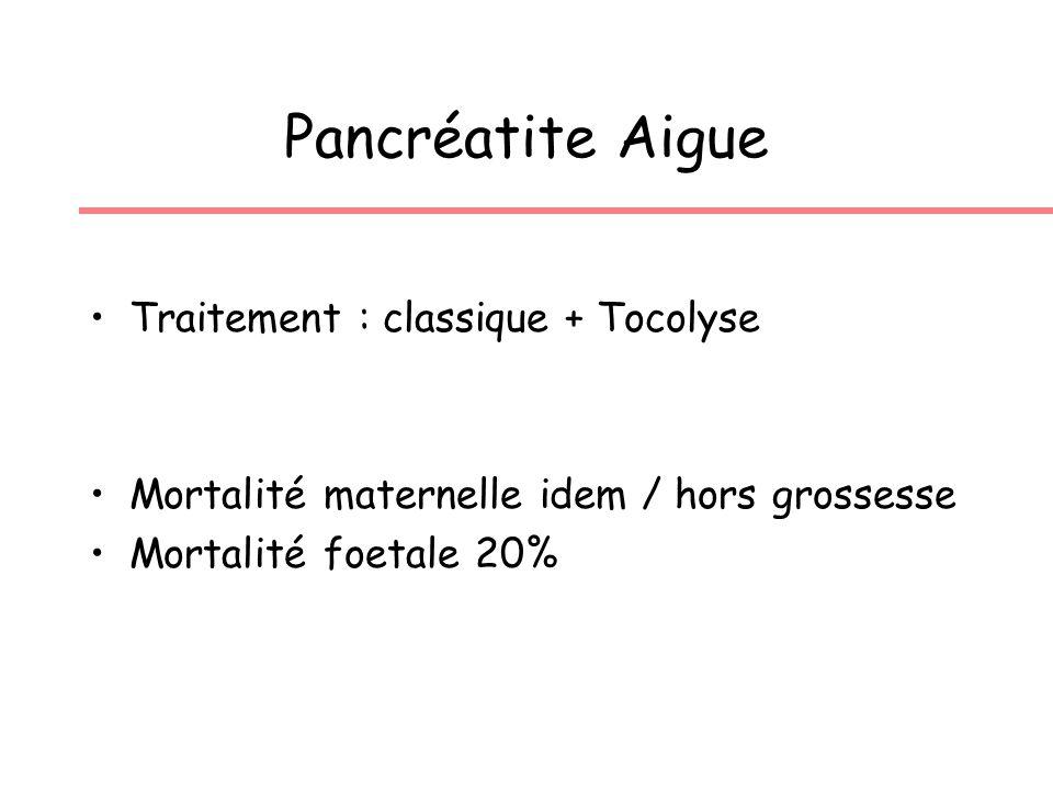 Pancréatite Aigue Traitement : classique + Tocolyse