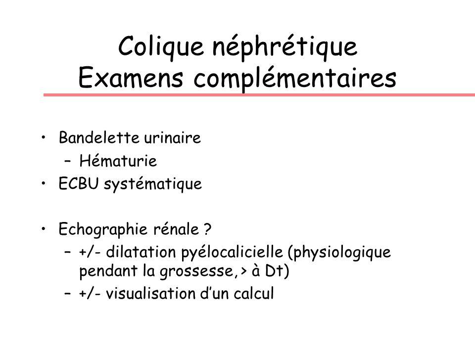 Colique néphrétique Examens complémentaires