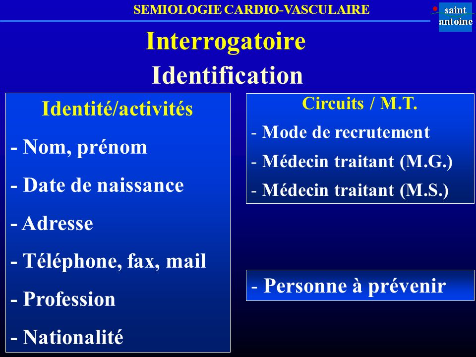 Interrogatoire Identification