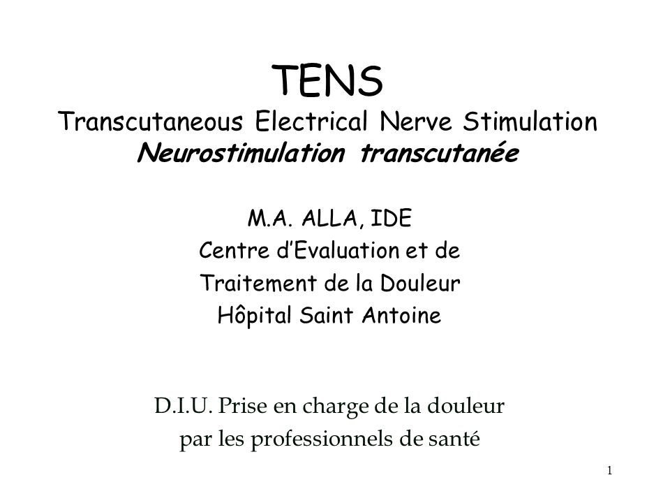 TENS Transcutaneous Electrical Nerve Stimulation Neurostimulation transcutanée
