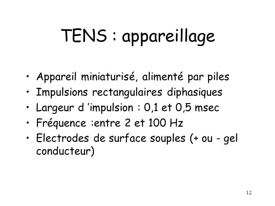 TENS : appareillage Appareil miniaturisé, alimenté par piles