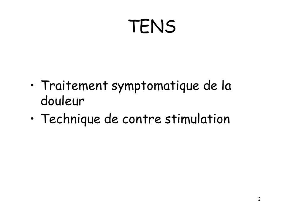 TENS Traitement symptomatique de la douleur