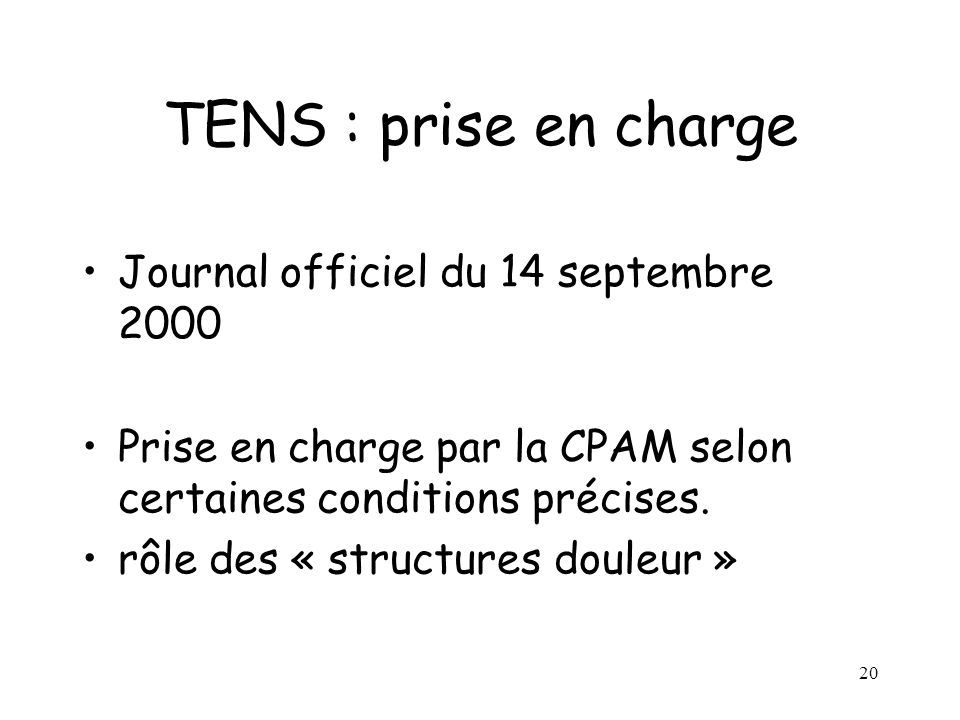 TENS : prise en charge Journal officiel du 14 septembre 2000