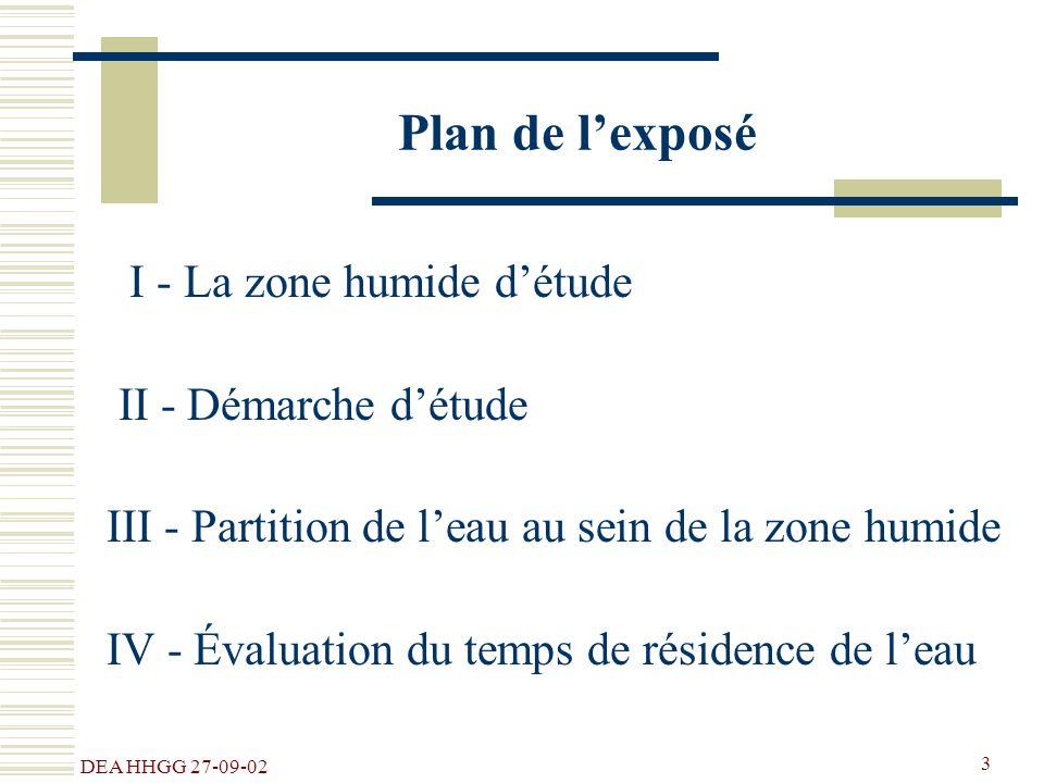 Plan de l'exposé I - La zone humide d'étude II - Démarche d'étude