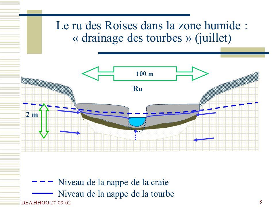 Le ru des Roises dans la zone humide : « drainage des tourbes » (juillet)