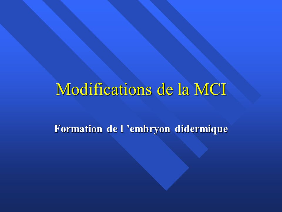 Modifications de la MCI
