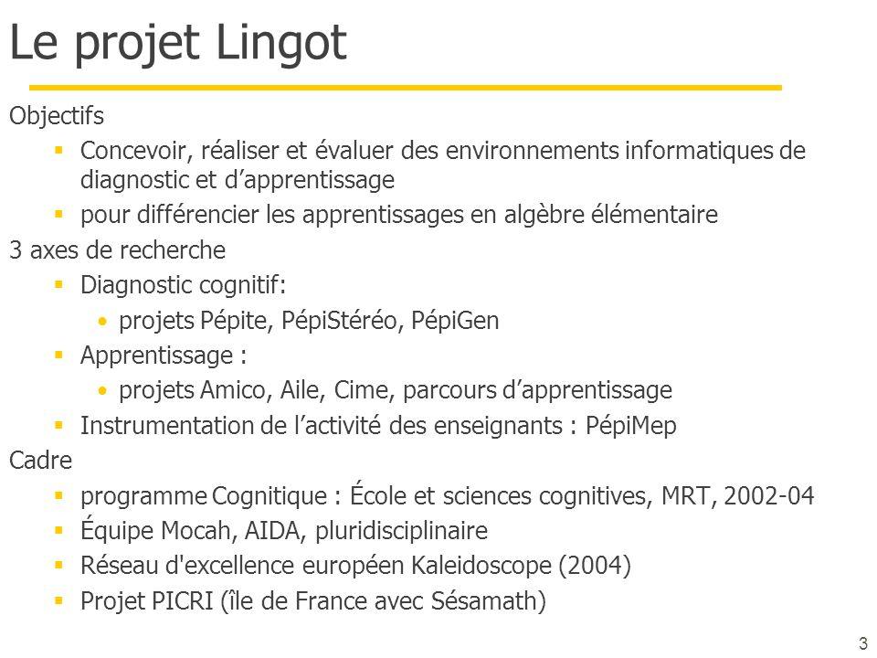 Le projet Lingot Objectifs