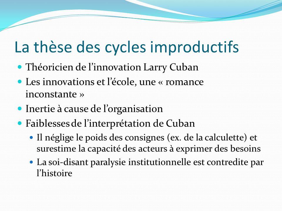 La thèse des cycles improductifs