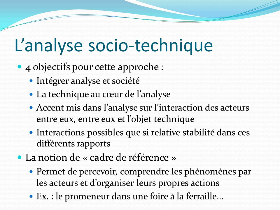 L'analyse socio-technique